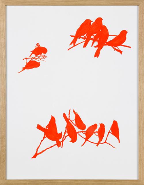 """Michel Paysant, """"Oiseaux fluos (ombres de lumiere) 1-2-3-4"""", 2002. Collection Musée d'Art Moderne Grand-Duc Jean, Mudam Luxembourg. Donation 2004 – Michel Paysant"""
